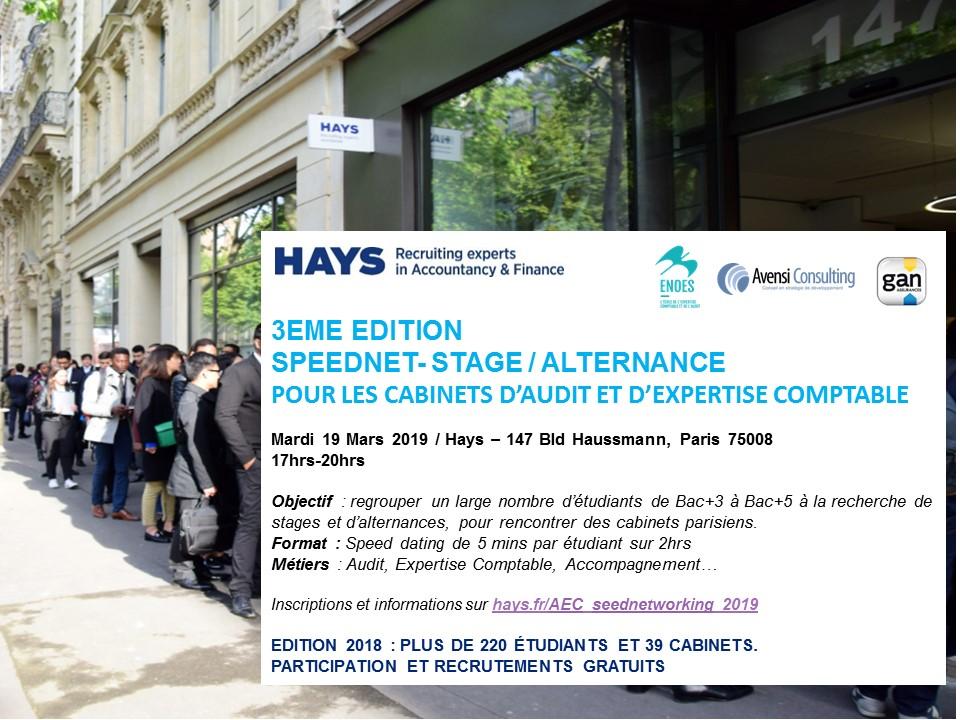 , Speednet-Stage/Alternance HAYS : 3ème édition