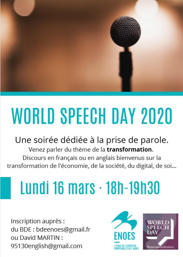 , Soirée WORLD SPEECH DAY 2020 à l'ENOES