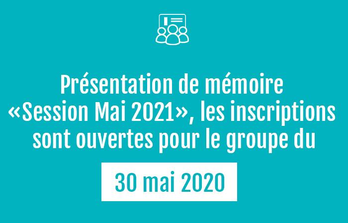 , Mémoire DEC 2021 – inscriptions ouvertes pour Mai 2020