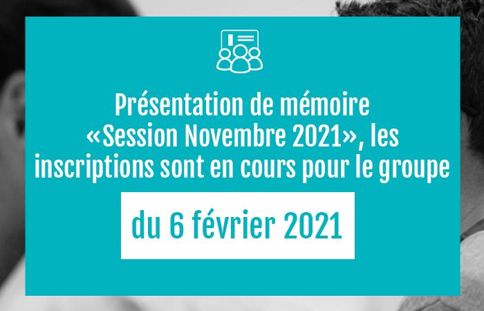 , Mémoire DEC 2021 – Inscriptions en cours pour février 2021