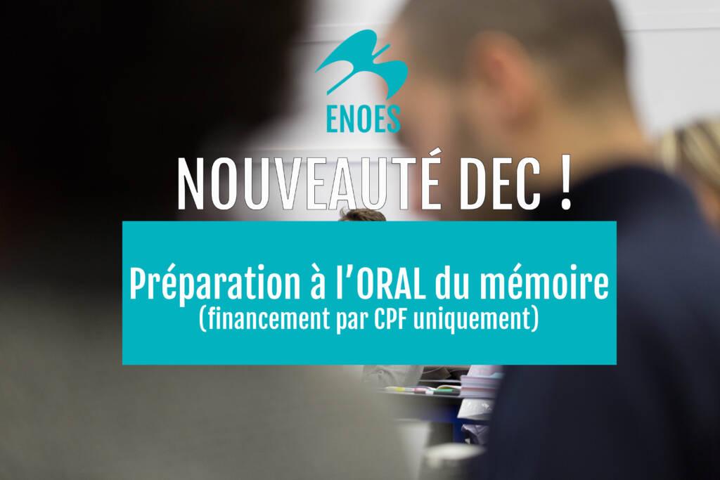 , Nouveau : préparation à l'oral du mémoire DEC