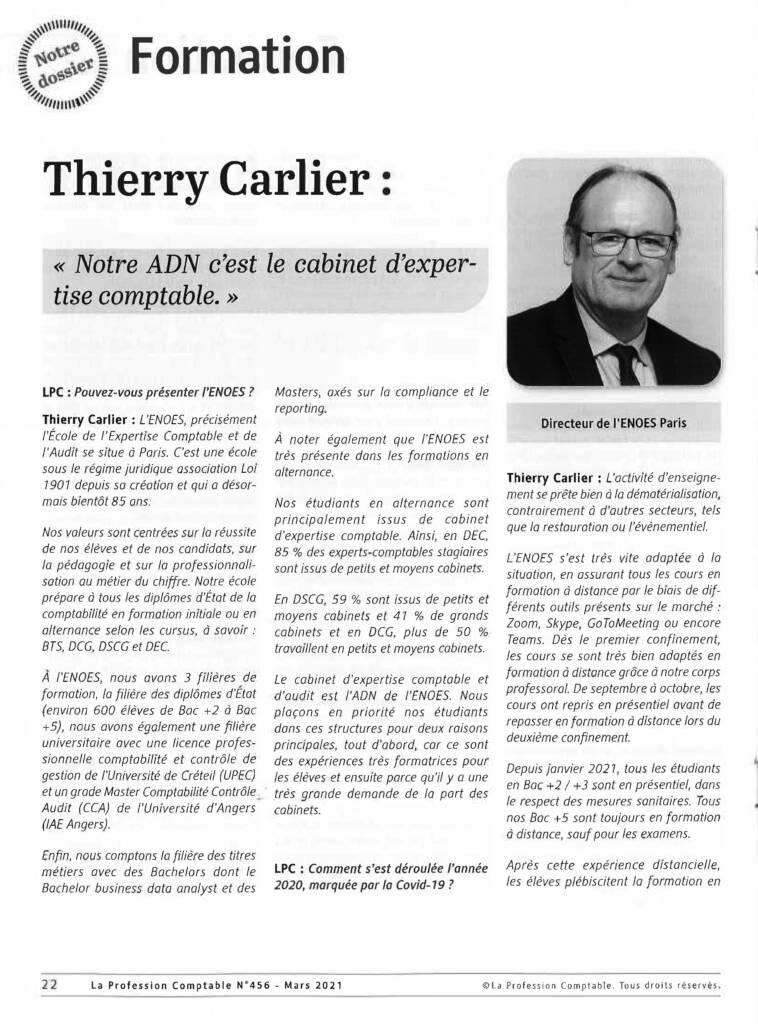 , Interview de Thierry CARLIER dans la revue La Profession Comptable